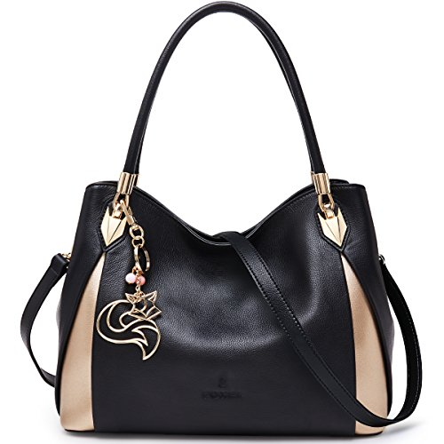 💗 Genuine Leather - Made of high quality full-grain cowhide, enhancing softness and comfort, decorated with hardware keyring. Polyester lining is silky and it will not scratch your personal belongings. Gold hardware accessories and microfiber strap c...