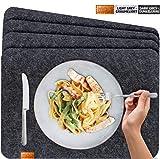 Miqio - Design Tischset aus Filz | Marken Label aus echtem Leder | 4er Set Platzset (dunkel grau anthrazit) abwaschbar | Filzmatte Tisch Untersetzer Platzdeckchen abwischbar