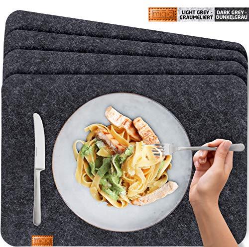 Miqio® - Set de Table Design Feutre et Cuir Lavable. 4 sous-Assiettes. Napperons Premium (Gris Foncé Anthracite)