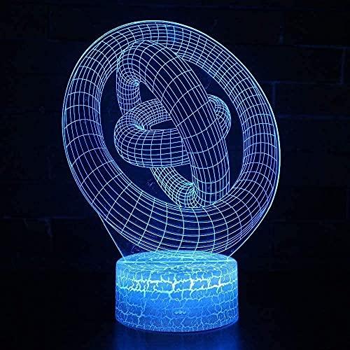 Lonfencr Mesa de noche luces abstractas círculo decoración para niños regalos lámpara de escritorio 16 colores cambiantes día de San Valentín USB recargable Smart Touch