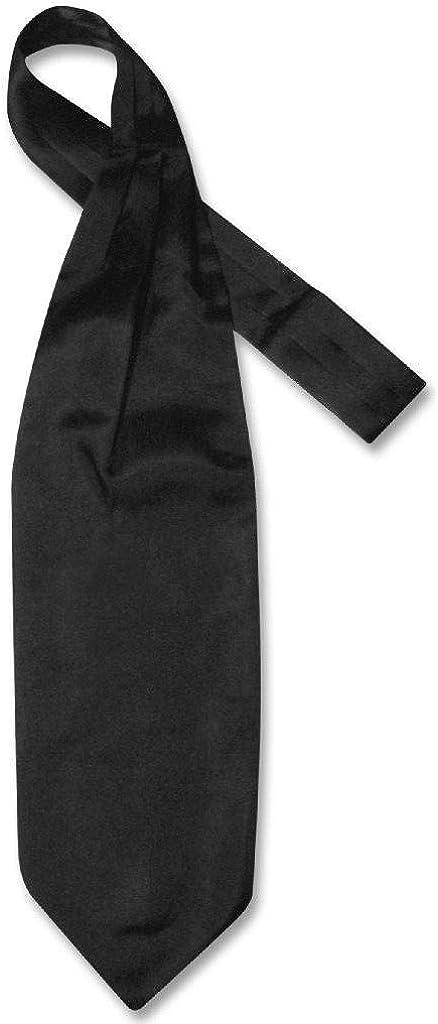 Biagio ASCOT Solid BLACK Color Cravat Men's Neck Tie