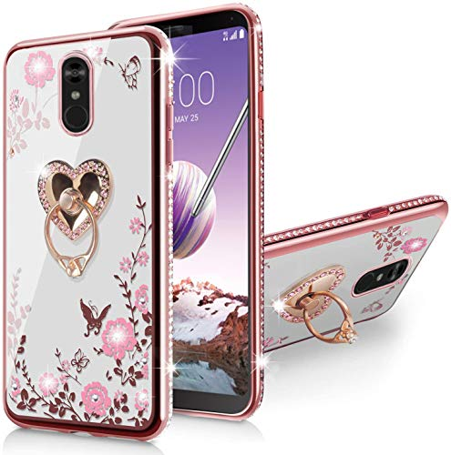 LG Stylo 4 Case/Q Stylo/Stylus 4/Stylo 4 Plus Case,Glitter Sparkly Diamond Secret Garden Floral Butterfly Clear Soft TPU Bling Shiny Rhinestone Ring Grip Holder Stand for LG Stylo 4-Rose Gold