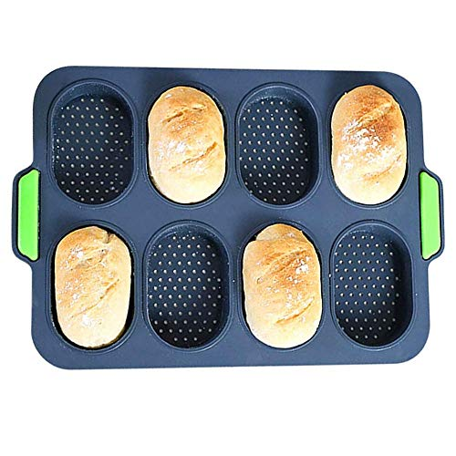 Silicone Baguette Pan Hot Dog Molds Non-stick French Bread Loaf Baking Mould, Toast Cooking Bakers Roll Pan Sandwich Mold French Baguette Bread Pan (Grey)