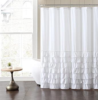 VCNY Home Melanie Ruffle Shower Curtain 72x72 White