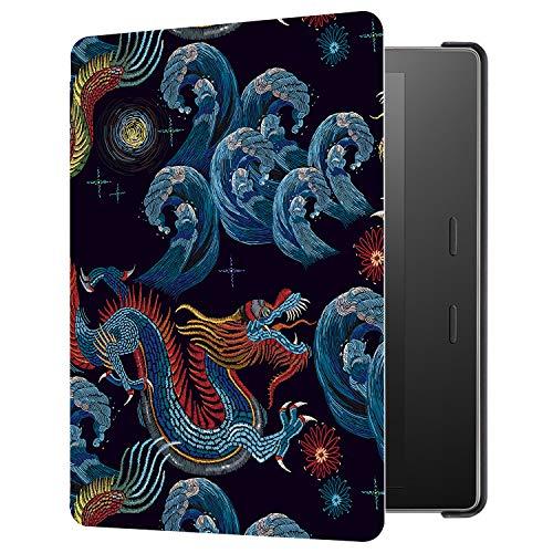 Huasiru Pintura Caso Funda para Kindle Oasis 2017/2019 (7 Pulgadas, 9.ª/10.ª generación) Cover, Dragón Negro