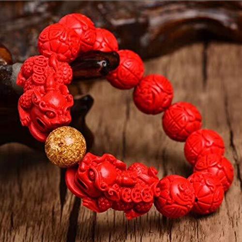 CYHSHY Feng Shui Pulsera Doble Pixiu/Piyao Natural Cinnabar Redondo Bangle Brazalete Talismán Protege Suerte Amor Dinero Feliz Prosperidad Atraer para Hombre/Mujeres,6mm