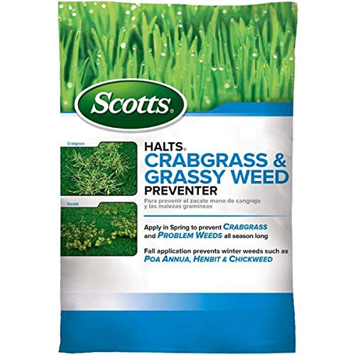 Scotts VB30015 Halts Crabgrass & Grassy Weed Preventer: Treats up to 5,000 sq. ft, Pre-Emergent Control for Lawns, Also Works on Chickweed & More, 10.06 lb (2-Pack)
