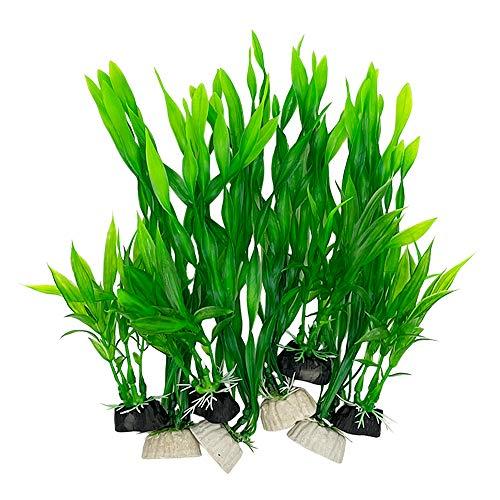Plantas de acuario Decoraciones de pecera 8pcs Pequeña Planta Artificial De Plástico Peces De Colores Waterscape Peces Para Tanque Pequeño (Juego Verde)