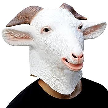 CreepyParty Animal Mask Costume Novelty Halloween Costume Party Latex Animal Head Mask Goat Mask