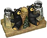 Demdaco Black Bear Friends Resin Salt and Pepper Shakers and Toothpick Holder