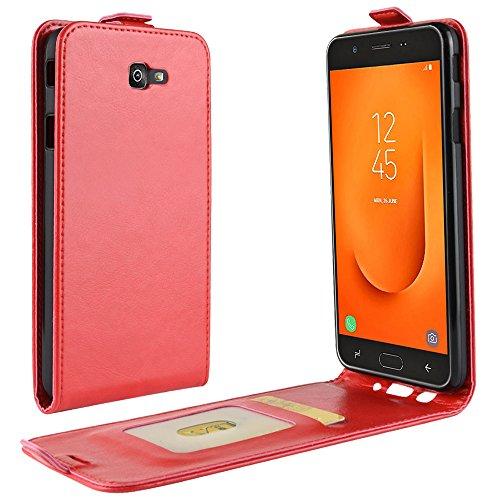 Zl One Compatível com/Substituição para Capa de telefone Samsung Galaxy J7 Prime 2 G611F Couro Poliuretano Proteção Cartão Compartimentos Capa carteira Capa flip (Vermelho)
