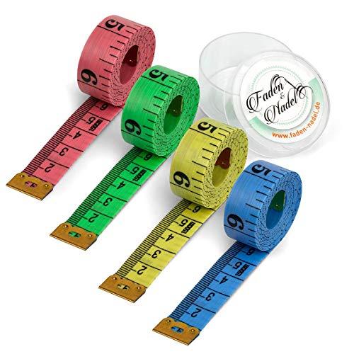 Faden & Nadel® 4er Set, Bunte Schneider Maßbänder, je 150 cm (mit Zentimeter und Zoll Skala)