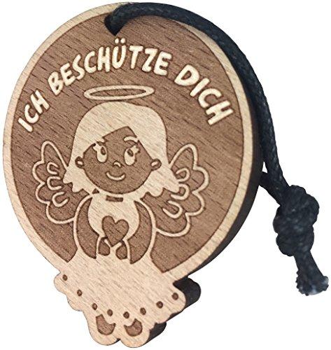 Schutzengel Schlüsselanhänger Engel Auto - Ich beschütze Dich - aus Holz Engelanhänger Glücksbringer