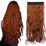 iLUU Women Hair Extensions 5 Clips in Synthetic Hair Pieces 24' 20g Extre Long Thick Curly Wavy Body Wave #119 Orange Fashion Party Clip in Harpiece Hair Extensions