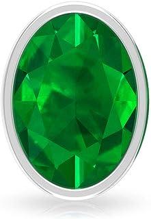 1.7Ct Solitaire Lab Created Emerald Earring, Oval Shape Gemstone Stud Earring, Bridesmaid Wedding Earring, Vintage Bridal ...