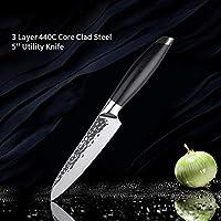 キッチンナイフ3レイヤ鍛鋼シェフナイフフルーツスライス包丁ナイフでG10ハンドルクックツール (Color : 5 Inch Utility Knife)