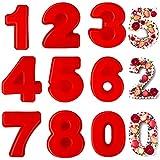 Frasheng 9pezzi Stampi per Torte in Silicone,Stampo in silicone con numeri,Stampi con Forme Particolari,4 pollici,Set di stampi per torte in 3D,teglie in silicone,compleanno,anniversario di matrimonio