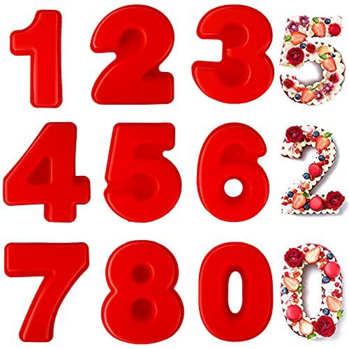 Frasheng 9 Piezas Moldes de Silicona para Tartas,Moldes Números para Tartas con...