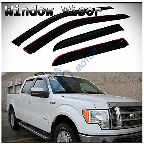 D&O MOTOR 4pcs Front+Rear Smoke Sun/Rain Guard Outside Mount Tape-On Window...