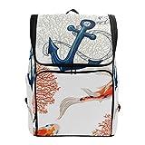 Al aire libre Daypack Tropical patrón Koi Fish Anchor Corals Casual Travel...
