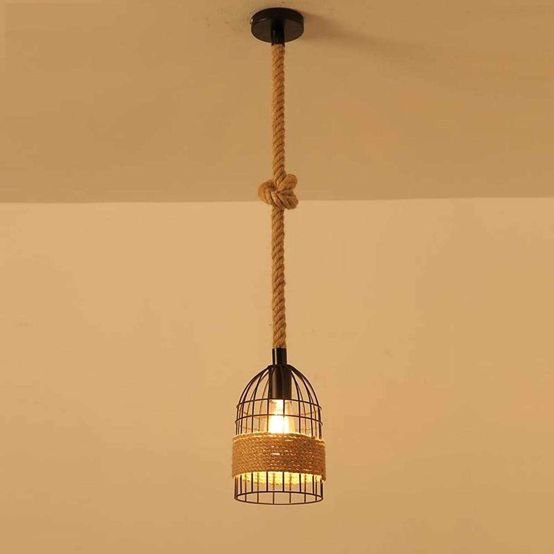 MJBOY Kronleuchter Restaurant Bar Cafe Wohnzimmer Korridor Kreative Hanfseil E27 Lampe Schmiedeeisen Kronleuchter