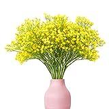 yunuo 12 flores artificiales de seda Gypsophila para el aliento del bebé, decoración de boda, hogar, fiesta, regalo (amarillo)