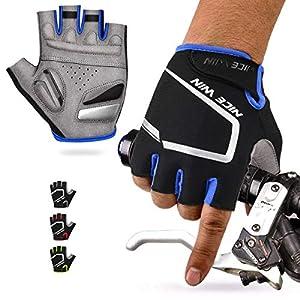 LOHOTEK Guantes de Ciclismo de Bicicleta de Montaña Motocicleta Guantes de Bicicleta de Carretera de Medio-Dedo para Hombres Mujeres Acolchado Antideslizante Transpirable (Azul(Medio Dedo), L)