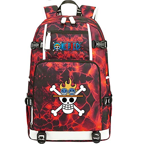 ZZGOO-LL One Piece Monkey·D·Luffy/Portgas·D· Ace Anime Laptop Backpack Bag Travel Laptop Daypacks Lightweight Bag with USB-A