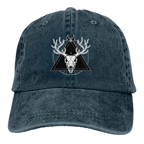 gii6LMLMLFGHLBB Hombres Mujeres Cráneo místico de Ciervo cornudo Sombrero de papá Apenado Lavado Vintage Gorra de béisbol Ajustable Divertida