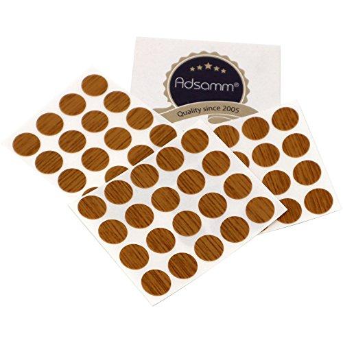 Adsamm® | 60 x Abdeckkappen | Ø 13 mm | Eiche | rund | 0,45 mm dünne selbstklebende Möbelpflaster von Adsamm®