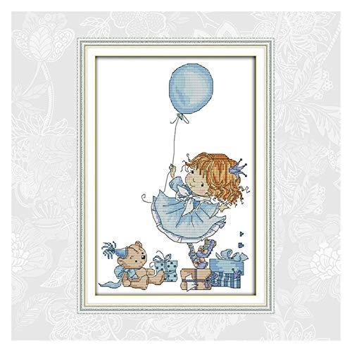 Das kleine Mädchen mit einem Ballon-Handarbeit 14CT 11CT auf Leinwand-Kreuzstich-Kits-Stickerei-Set DIY handgefertigte Kunsthandwerk gedruckt Kreuzstich-Malerei