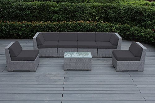 Ohana 7-Piece Outdoor Patio Furniture Sectional Conversation Set, Gray Wicker with Gray Cushions - No Assembly with Free Patio Cover