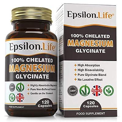 Epsilon Magnesium Glycinate - Pure, 100% Chelated Mag Bisglycinate - 120 Easy to Take Vegan Capsules