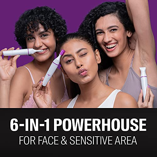 Bombay Shaving Company 6-in-1 sensitive trimmer for eyebrows, upper lips, sideburns, underarms bikini with 1 yr warranty | 1.5 hours runtime | Waterproof
