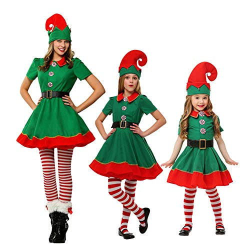 YFPICO Costume di Natale Costume da Elfo Natalizio Bambino Cosplay Abbigliamento Genitore-Figlio Costume Adulto, Ragazza, Ragazza/Donna (Statura: 170-185 cm)
