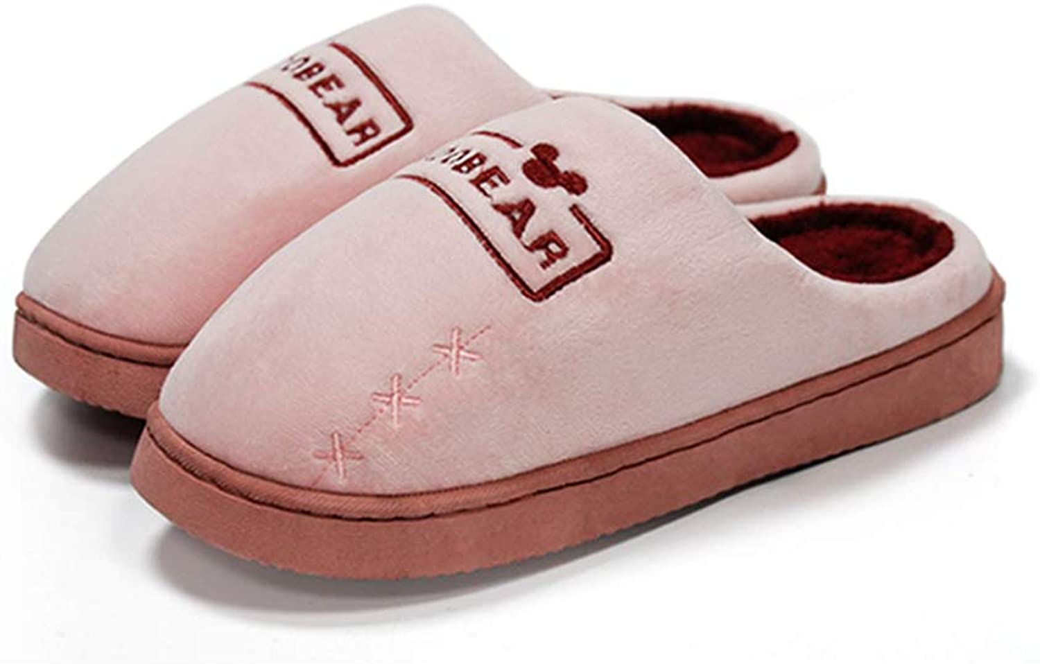 FAY WATERS Men Women's Comfort Cotton Slippers Soft Plush Lining Slip-on House shoes for Indoor Use