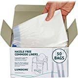 Lunderg Commode Liners - Value Pack 50 Count Universal Fit - Bedside Commode Liners Dispos...