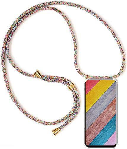 Handykette Handyhülle für Samsung Galaxy A51 mit Band - Handy-Kette Handy Hülle mit Kordel zum Umhängen Handyanhänger Halsband Lanyard Case-Rainbow