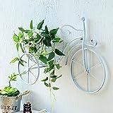 Soporte portátil para macetas con forma de bicicleta y soporte para plantas, estante de exhibición de macetero con forma de bicicleta de metal, estante organizador de almacenamiento de macetero