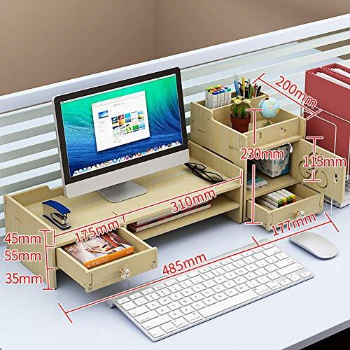 Computermonitorhouder van hout, bureau-organizer, monitorhouder, printermonitor, pc, tv met ladekast, esdoornwit, G
