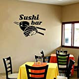 Usmnxo Restaurante calcomanías de Pared Sushi Comida Pegatinas de Pared Palillos arroz Vitrina de Pared Cartel Sushi Bar decoración Vinilo Arte de la Pared 81x57 cm
