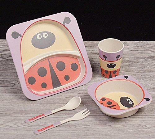 FJM Fiber Bambou Enfants Créatifs Coutellerie Manger de la Nourriture Supplément Grille Grille Table Set Fourchette Cuillère Cuillères,H