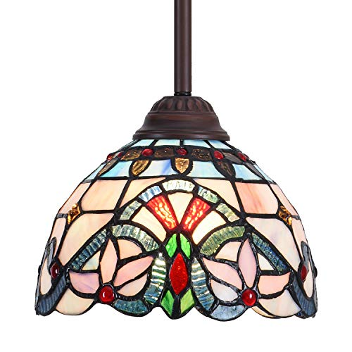 Capulina Tiffany Pendant Lighting Blue Victorian 1 Light Tiffany Hanging Lamp Kitchen Light Fixtures Adjustable Hanging Ceiling Light Stained Glass Lamps