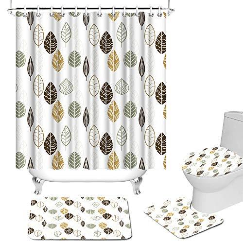 Lot de 4 rideaux de douche avec tapis antidérapant, housse d
