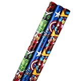 Hallmark Avengers Wrapping Paper Bundle with Cut Lines on Reverse, Black Widow, Captain America, Iron Man,...