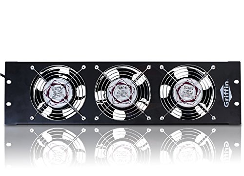 GRIFFIN Rackmount Cooling Fan   3U Ultra-Quiet Triple Exhaust Fans, Keep Studio Audio Equipment Gear Cool   Rack Mount on Network IT System Server Rails   DJ PA AMP Temperature Control Panel Cabinet