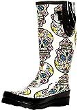 M&F Western Size 7 Rain Boots Womens Cream Sugar Skull Round Toe Leg