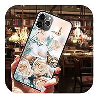 Cenzz ソフトTPUフラワー3Dエンボスエンボスエンボス保護ケースforiPhone XS Max XR X iPhone 11 Pro Max 8 7 6S 6 Plus 5 5SSEカバー-3mg2hd-For iPhone 5 5S SE