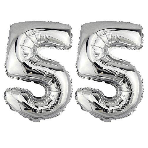 DekoRex® 55 als Folienballon Luftballon Zahlenballon Jahrestag Geburtstag in Silber 40cm hoch