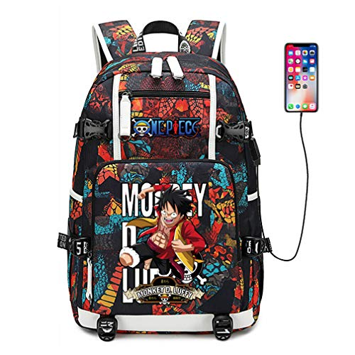 YOYOSHome One Piece Anime Cosplay Bookbag Rucksack Daypack Laptop Bag Backpack School Bag with USB Charging Port (Red 1)